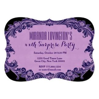 Irgendein Jahr-Überraschungs-Geburtstag lila 12,7 X 17,8 Cm Einladungskarte