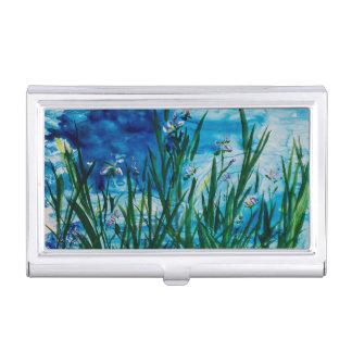 Iris auf dem Wasser-Rand-Visitenkarte-Halter Visitenkarten-Behälter