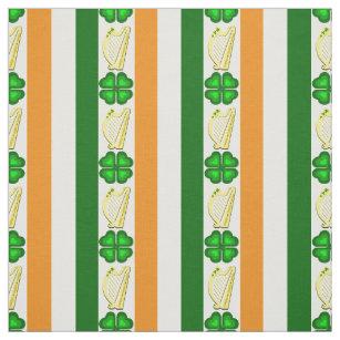 Irische Flagge/Orange, Kleeblätter, Harnstreifen Stoff
