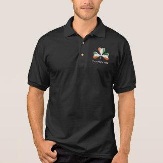 Irische Flaggen-Tri FarbThemed Kleeblatt Polo Shirt
