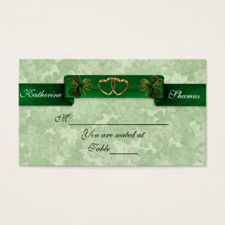 Irische Hochzeitssitzplatz-Karten-Kleeblätter Visitenkarte