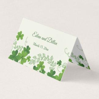 Irische Kleeblatt-Hochzeit danken Ihnen Visitenkarten