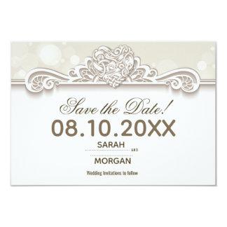 Irische Spitze, die Save the Date Wedding ist Karte