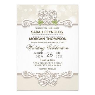 Irische Spitze-Hochzeits-Einladung Karte
