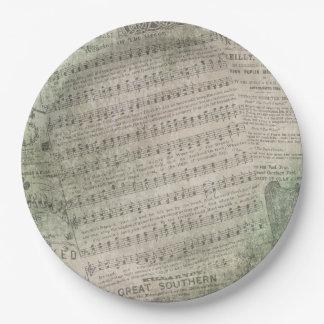 Irische Vintage Blatt-Musik, Tragen des Grüns Pappteller 22,9 Cm