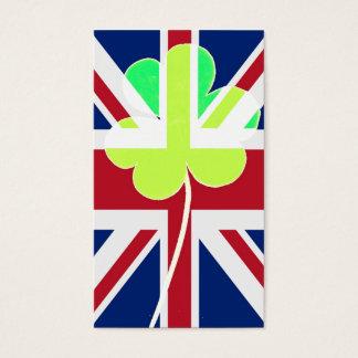 Irischer britischer Flaggen-Kleeblatt-Klee St Visitenkarte