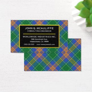 Irischer Clan MacAuliffe Tartan kariert Visitenkarte