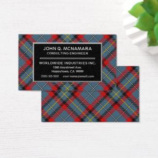 Irischer Clan MacNamara McNamara Tartan kariert Visitenkarte