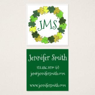 Irischer grüner Kleeblatt-Klee-glückliche Quadratische Visitenkarte