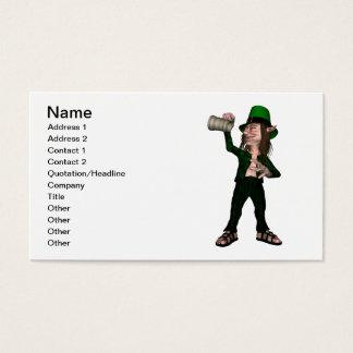Irischer Kobold, der leeren Krug hält Visitenkarte