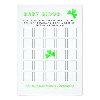 Irischer Kobold-glückliches Kleeblatt-Baby-Bingo Karte