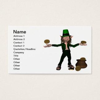 Irischer Kobold mit Münzen und einem Goldschatz Visitenkarte