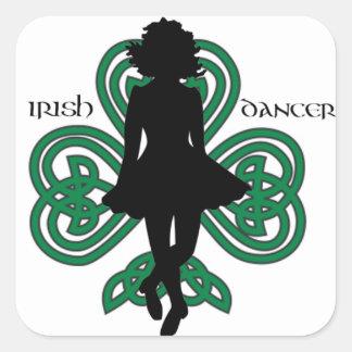 Irischer Tänzer Hardshoe/Waldgrün-Herz-Kleeblatt Quadratischer Aufkleber