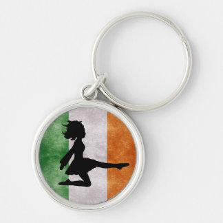 Irischer Tänzer-irische Flagge Keychain Silberfarbener Runder Schlüsselanhänger