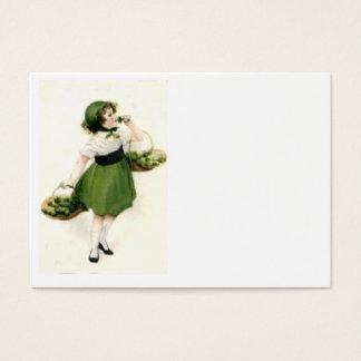 Irisches Blumen-Mädchen-Kleeblatt-Grün Visitenkarte