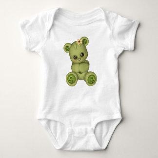 Irisches gelbes Grün des Teddy-Bären Baby Strampler