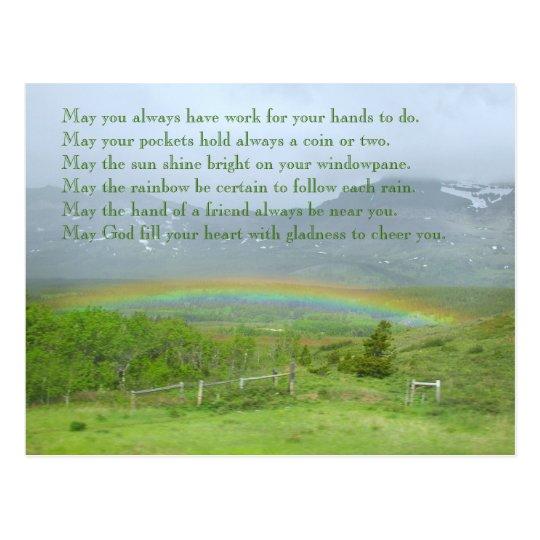 Irisches Segen-Regenbogen-Foto Postkarte