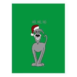 Irish Wolfhound Santa Postkarte