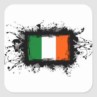 Irland-Flagge Quadratischer Aufkleber