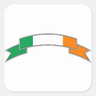 Irland-Flaggen-Band Quadratischer Aufkleber