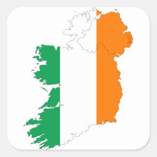 Irland-Flaggen-Karte Quadratischer Aufkleber