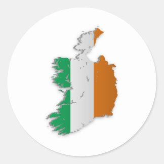 Irland-Flaggen-Karte Runder Aufkleber