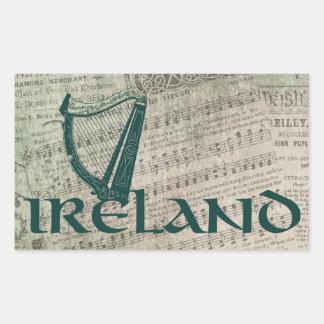Irland-Harfen-Entwurf, irische Harfe Rechteckiger Aufkleber