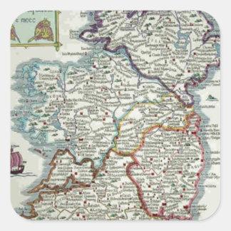 Irland-Karte - historische Karte IrenEire Erin Quadratischer Aufkleber