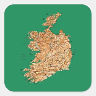 Irland-Karten-Aufkleber Quadratischer Aufkleber
