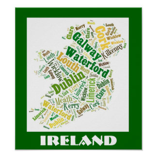 Irland-Silhouette-Wort-Kunst-Plakat Poster
