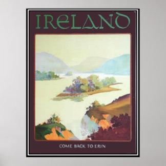 Irland, zurückgekommen zu Erin Druck Poster