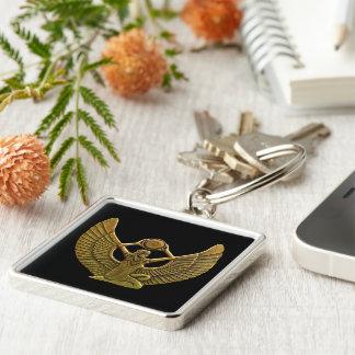 Isis-Amulett-Gold Silberfarbener Quadratischer Schlüsselanhänger