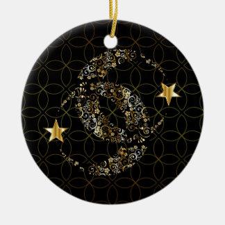 Islamischer Blumenmond und Stern Keramik Ornament