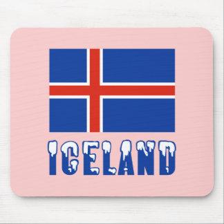 Island-Flagge und Namen-Schnee Mauspad