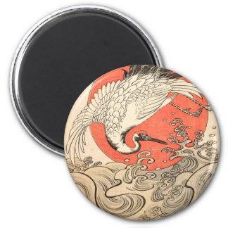 Isoda Koryusai - Kran, Wellen und aufgehende Sonne Runder Magnet 5,7 Cm