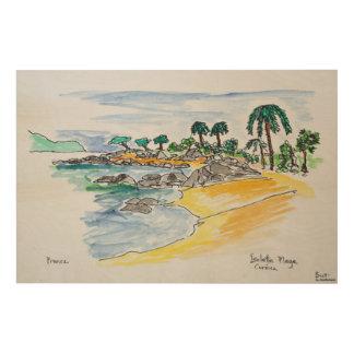 Isolella Strand, Ajaccio | Korsika, Frankreich Holzleinwand