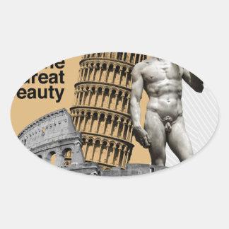 Italien, die große Schönheit Ovaler Aufkleber