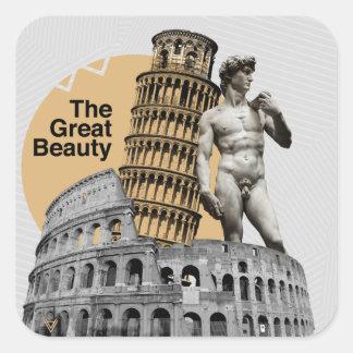 Italien, die große Schönheit Quadratischer Aufkleber