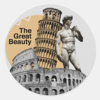 Italien, die große Schönheit Runder Aufkleber