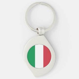 Italien-Flagge Silberfarbener Wirbel Schlüsselanhänger