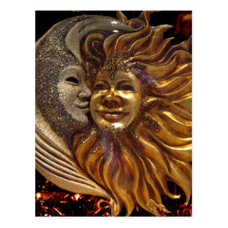 Italiener Sun u. Mond Carnaval Masken Postkarten