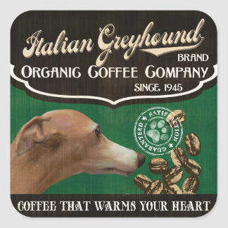 Italienischer Windhund-Marke - Organic Coffee Quadratischer Aufkleber