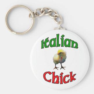 Italienisches Küken mit Horn Standard Runder Schlüsselanhänger