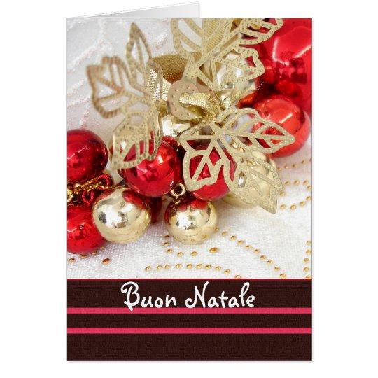 Italienisches Weihnachten - Rot und Goldflitter Grußkarte