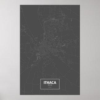 Ithaca, New York (weiß auf Schwarzem) Poster