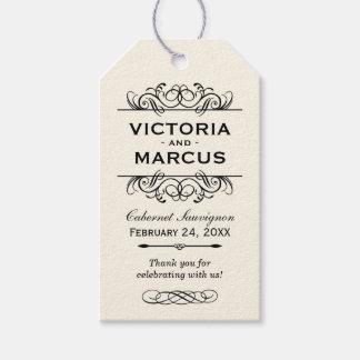 Ivory Wedding Wine Bottle Monogram Favor Tags Geschenkanhänger