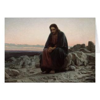 Iwan Kramskoy- Christus in der Wildnis Grußkarte