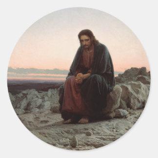 Iwan Kramskoy- Christus in der Wildnis - schöne Runder Aufkleber