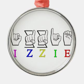 IZZIE FINGERSPELLED ASL NAMENSzeichen Rundes Silberfarbenes Ornament