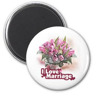 J aime le bonheur épousé par mariage magnets pour réfrigérateur